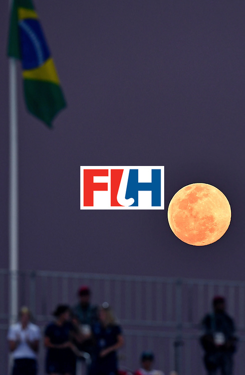 Full moon raises during the women's semifinal field hockey New Zealand vs Britain match of the Rio 2016 Olympics Games at the Olympic Hockey Centre in Rio de Janeiro on August 17, 2016. / AFP / MANAN VATSYAYANA        (Photo credit should read MANAN VATSYAYANA/AFP/Getty Images)