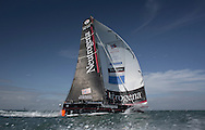 Offshore sailor Guillermo Altadill onboard the new Neutrogena IMOCA Open 60 racing yacht, pictures training in the Solent. UK<br /> Credit - Lloyd Images