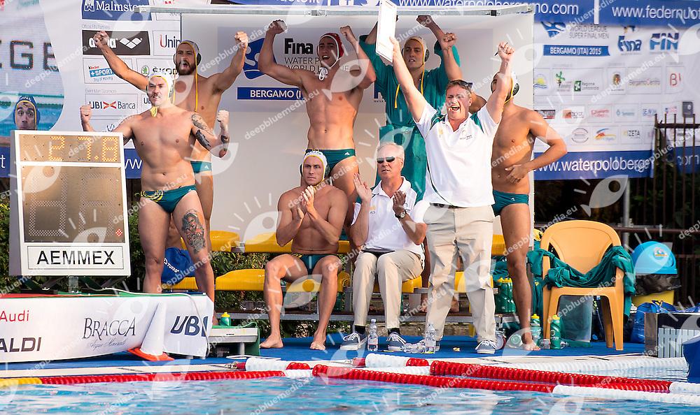 Team Australia<br /> Australia AUS (white) - United States USA (blue)<br /> day 02 - 24/06/2015<br /> FINA Water Polo World League Superfinal Men<br /> Bergamo (ITA) 23-28 June 2015<br /> Photo G.Scala/Deepbluemedia