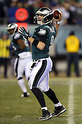 Philadelphia Eagles quarterback Nick Foles (9) throws a pass during the NFL NFC Wild Card football game against the New Orleans Saints on Saturday, Jan. 4, 2014 in Philadelphia. The Saints won the game 26-24. ©Paul Anthony Spinelli