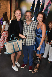 Left to right, Louise ?, Mark Hix and Claudia Lambeth at the launch of Unit London Mayfair and Ryan Hewett The Garden Preview, Hanover Square, London, England. 26 June 2018.