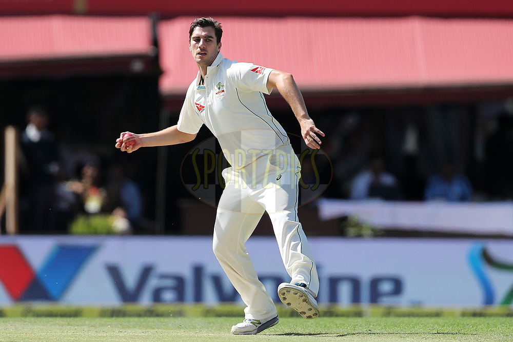Pat Cummins of Australia  during day two of the fourth test match between India and Australia held at the Himachal Pradesh Cricket Association Stadium on the 26th March 2017.<br /> <br /> Photo by: Ron Gaunt/ BCCI/ SPORTZPICS