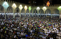 13.07.2015, Kairo, EGY, Fastenmonat Ramadan, im Bild Gläubige Muslime im Fastenmonat Ramadan // Egyptian muslim worshipers take part in Laylat Al Qadr prayers or Night of Power, in which the Muslim holy book of Koran was revealed to Prophet Mohammad by Allah on the 27th day of the holy fasting month of Ramadan at Amr Bin al-Aas mosque in Cairo during Ramadan July 14, 2015, Egypt on 2015/07/13. EXPA Pictures © 2015, PhotoCredit: EXPA/ APAimages/ Amr Sayed<br /> <br /> *****ATTENTION - for AUT, GER, SUI, ITA, POL, CRO, SRB only*****