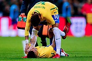 Brazil Paris Saint Germain PSG midfielder Neymar (10) checks on the fitness of Brazil Manchester City forward Gabriel Jesus (9)  during the International Friendly match between England and Brazil at Wembley Stadium, London, England on 14 November 2017. Photo by Simon Davies.