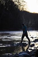Fly fishing for steelhead along the Bogachiel River Olympic Peninsula, WA.
