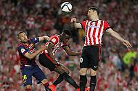 Barcelona´s Jordi Alba and Athletic de Bilbao´s Inaki Williams Dannis and Aritz Aduriz during 2014-15 Copa del Rey final match between Barcelona and Athletic de Bilbao at Camp Nou stadium in Barcelona, Spain. May 30, 2015. (ALTERPHOTOS/Victor Blanco)