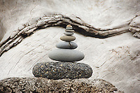 Stones stacked on Rialto Beach, Olympic National Park, Washington.