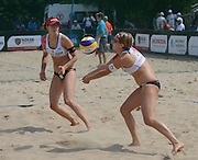 STARE JABLONKI POLAND - July 2: Tanja Goricanec /1/ and Tanja Huberli of Switzerland in action during Day 2 of the FIVB Beach Volleyball World Championships on July 2, 2013 in Stare Jablonki Poland.  (Photo by Piotr Hawalej)