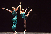 Based in Dresden, the Semperoper Ballett is internationally renowned for its distinguished ballet technique with both classical and contemporary repertoire. <br /> All Forsythe' features three pieces by William Forsythe, and this is the first of the three: In the Middle, Somewhat Elevated.  Picture features Denis Veginy & Duosi Zhu. ©Tony Nandi.2018