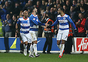 Queens Park Rangers striker Charlie Austin (9) celebrates his goal during the Sky Bet Championship match between Queens Park Rangers and Brighton and Hove Albion at the Loftus Road Stadium, London, England on 15 December 2015.