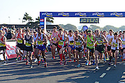 Mens Elite runners start the 10 miles during The Great South Run in Southsea, Portsmouth, United Kingdom on 23 October 2016. Photo by Jon Bromley.