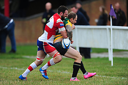 WELLINGBOROUGH ROB OWEN BATTLES WITH BUGBROOKES A.PEPPER, Wellingborough Rugby RFC v Bugbrooke RFC, Midlands 1 East League, Cut Throat Lane Gound, Gt Doddington, Saturday 3rd September 2016