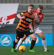 Barnet striker Michael Gash shields the ball from Exeter City midfielder David Noble during the Sky Bet League 2 match between Barnet and Exeter City at The Hive Stadium, London, England on 31 October 2015. Photo by Bennett Dean.
