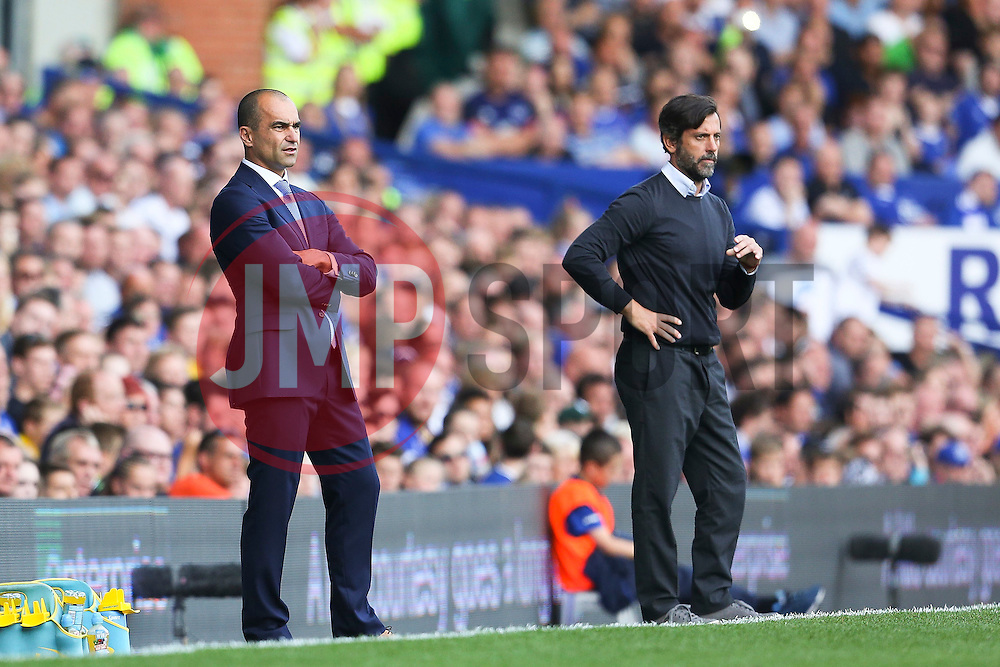 Everton Manager, Roberto Martinez and Watford Manager, Quique Flores  - Mandatory byline: Matt McNulty/JMP - 07966386802 - 08/08/2015 - FOOTBALL - Goodison Park -Liverpool,England - Everton v Watford - Barclays Premier League