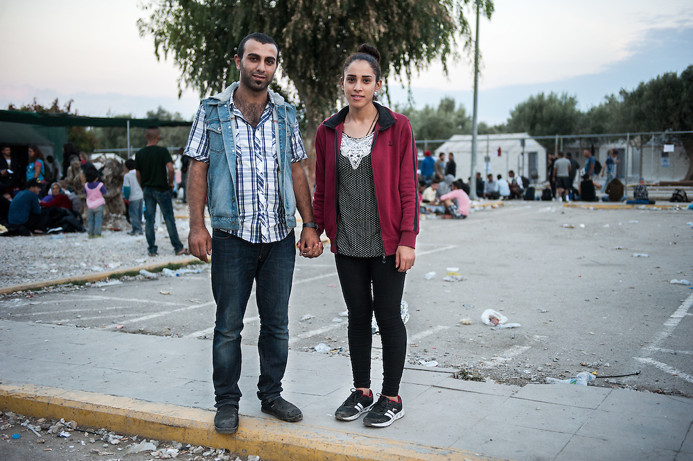 Mamu 21 years old with his wife, Samer 19 years old from Kobani Syria in Kara Tepe camp, Lesvos, Greece