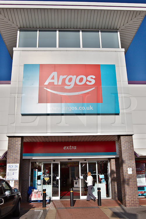 © Licensed to London News Pictures.  19/10/2011. AYLESBURY, BUCKINGHAMSHIRE, UK. General view of the exterior of an Argos branch taken today (Wed). Home Retail Group, who own the chain, reported a 70% reduction in half year profits blaming weak and volatile market conditions. Photo credit :  Cliff Hide/LNP