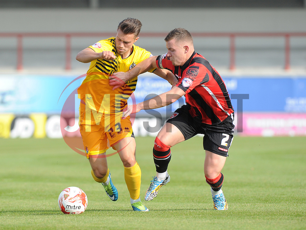 Billy Bodin of Bristol Rovers is challenged by Shaun Beeley of Morecambe - Mandatory byline: Neil Brookman/JMP - 07966 386802 - 03/10/2015 - FOOTBALL - Globe Arena - Morecambe, England - Morecambe FC v Bristol Rovers - Sky Bet League Two