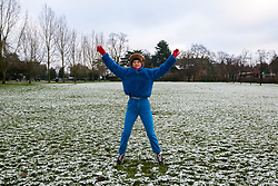 © Licensed to London News Pictures. 23/01/2019. London, UK. Alma Higelin exercising in a snow covered Finsbury Park, north London. Photo credit: Dinendra Haria/LNP