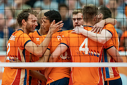 09-06-2019 NED: Golden League Netherlands - Spain, Koog aan de Zaan<br /> Fourth match poule B - The Dutch beat Spain again in five sets in the European Golden League / Wessel Keemink #2 of Netherlands, Fabian Plak #8 of Netherlands, Gijs Jorna #7 of Netherlands, Thijs Ter Horst #4 of Netherlands