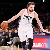 31 January 2014: Charlotte Bobcats power forward Josh McRoberts (11) is seen during the Charlotte Bobcats 110-100 victory over the Los Angeles Lakers at the Staples Center, Los Angeles, California, USA.