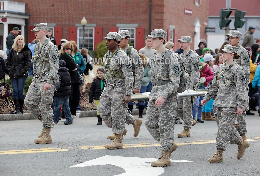 Goshen, New York - Members of the Minisink Valley High School U.S. Army Junior Reserve Officer Training Corps (JROTC) march in the mid-Hudson St. Patrick's Day parade on March 13, 2011. ©Tom Bushey / The Image Works