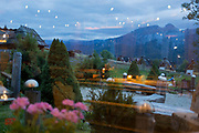 An evening landscape of a local yoga class outside a restaurant and hotel that overlooks the mountains of the Tatra National Park, on 16th September 2019, in Koscielisko, Zakopane, Malopolska, Poland.