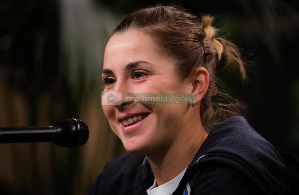 March 15, 2019 - Indian Wells, USA - Belinda Bencic of Switzerland talks to the media after her semi-final at the 2019 BNP Paribas Open WTA Premier Mandatory tennis tournament (Credit Image: © AFP7 via ZUMA Wire)