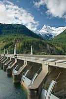 Diablo Dam and Pyramid Peak, North Cascades Washington USA