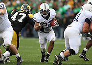 08 NOVEMBER 2008: Penn State running back Evan Royster (22) tries to get by Iowa defensive lineman Mitch King (47) in the first half of an NCAA college football game against Penn State, at Kinnick Stadium in Iowa City, Iowa on Saturday Nov. 8, 2008. Iowa beat Penn State 24-23.