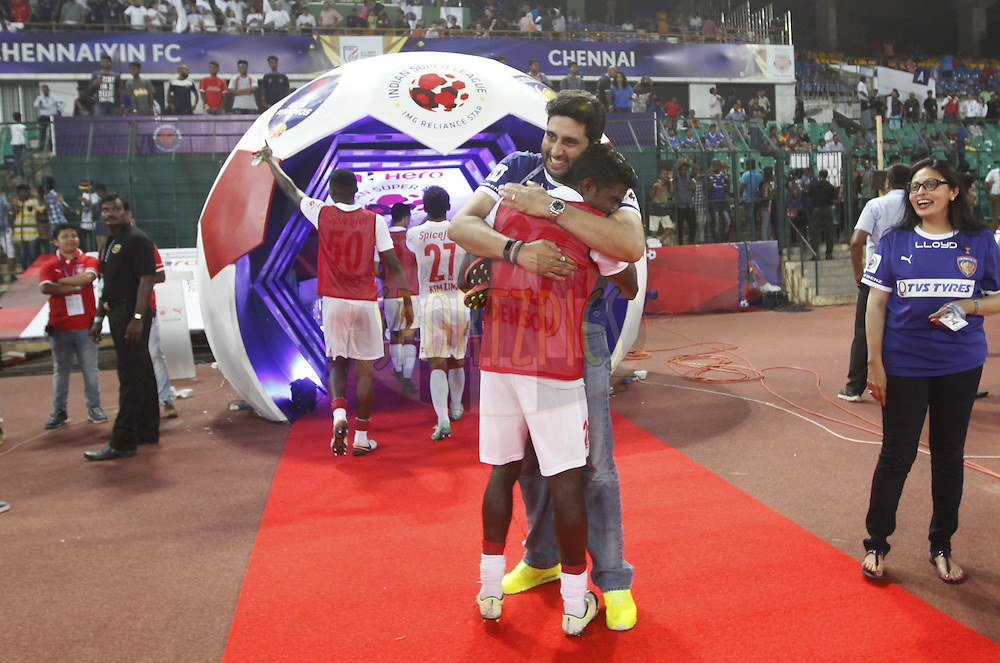Abhishek Bachchan owner of Chennaiyin FC hugs player after the  match 6 of the Indian Super League (ISL) season 3 between Chennaiyin FC and Delhi Dynamos FC held at the Jawaharlal Nehru Stadium in Chennai, India on the 6th October 2016.<br /> <br /> Photo by Arjun Singh / ISL/ SPORTZPICS