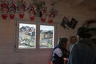 Torrita, 13/04/2017: interno di un bar con vista sulle case danneggiate dal terremoto del 30 ottobre.<br /> &copy; Andrea Sabbadini