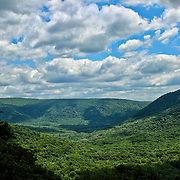 """""""Carved""""<br /> <br /> Gaze out into the valley below and mountains above. Carved out over time, and covered in deep green forests. Skies over head cast shadows as the clouds move quickly across the landscape!!<br /> <br /> Laurel Highlands Area of Pennsylvania by Rachel Cohen"""