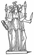 Hecate, triple-bodied daughter of the Titan Perses and of Asteria. As goddess of the lower world,  in Ancient Greek mythology she ruled over magic, ghosts and witchcraft. Wood engraving.
