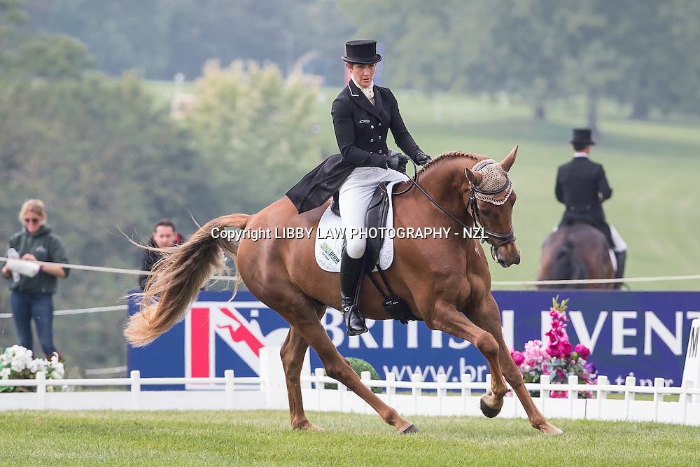 NZL-Caroline Powell (HALLTOWN HARLEY) INTERIM-=20TH: CIC3* 8&9YO: FIRST DAY OF DRESSAGE: 2014 GBR-Blenheim Palace International Horse Trial (Thursday 11 September) CREDIT: Libby Law COPYRIGHT: LIBBY LAW PHOTOGRAPHY - NZL