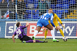 Bristol Rovers' Mark McChrystal fouls Hartlepool United's Marlon Harewood in the box giving away a penalty which is scored by Hartlepool United's Simon Walton - Photo mandatory by-line: Dougie Allward/JMP - Mobile: 07966 386802 15/03/2014 - SPORT - FOOTBALL - Hartlepool - Victoria Park - Hartlepool United v Bristol Rovers - Sky Bet League Two
