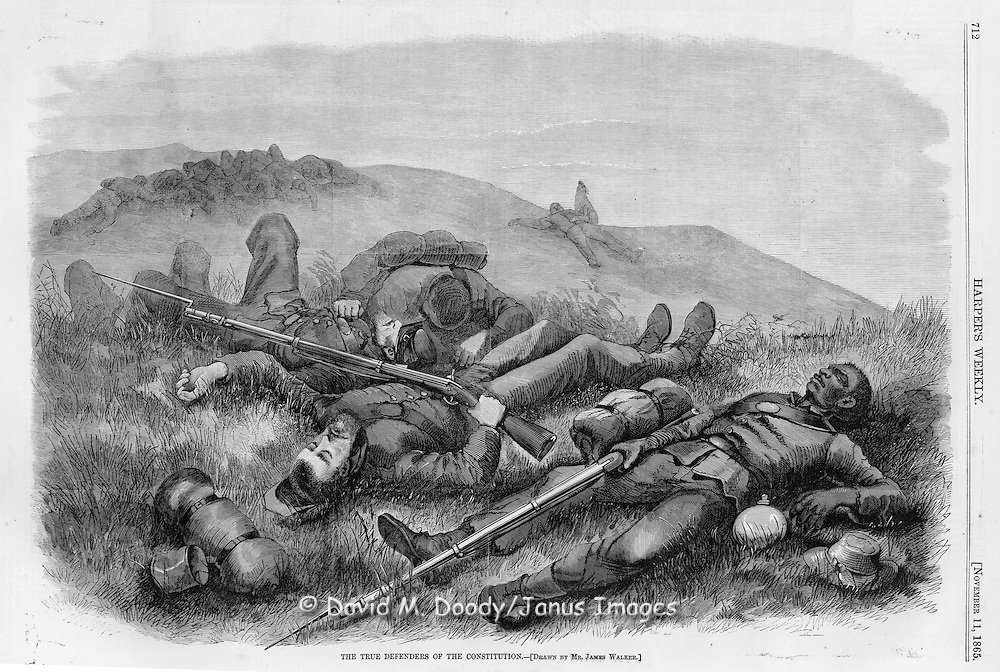 "Civil War: ""True Defenders of the Constitution"" Dead black and white Union soldiers on the Civil War battlefield. Harper's Weekly  November 11, 1865"