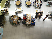 elevated view of a Food court in a shopping mall