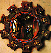 Jan van Eyck or Johannes de Eyck  c. 1395 – 1441) Flemish painter active in Bruges and considered one of the best Northern European painters of the 15th century. Detail of a mirror from the Arnolfini marriage.