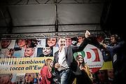 19 May 2014 - Naples, Italy. The Prime Minister Matteo Renzi in Naples, speak to democratic party supporters in a meeting inside the Sanit&agrave; Square, for European elections.<br /> <br /> Napoli. Il Presidente del Consiglio Matteo Renzi sul palco di Piazza Sanit&agrave; a Napoli, nel quartiere Sanit&agrave;, tiene un comizio politico in occasione delle prossime elezioni Europee.