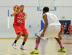 Bristol Flyers' Greg Streete plays a pass - Photo mandatory by-line: Dougie Allward/JMP - Mobile: 07966 386802 - 28/03/2015 - SPORT - Basketball - Bristol - SGS Wise Campus - Bristol Flyers v London Lions - British Basketball League