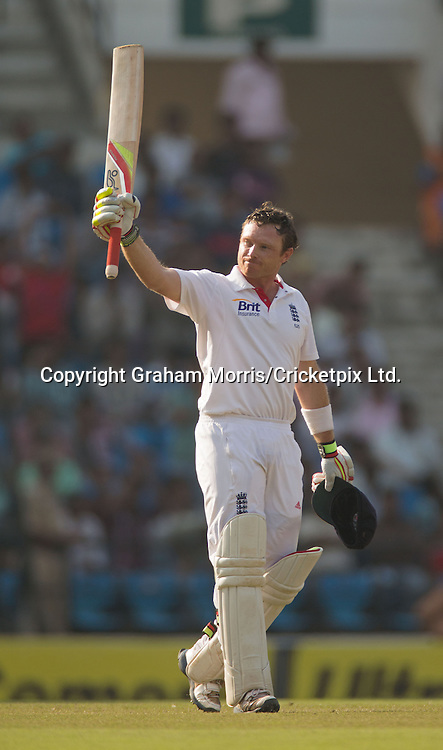 Ian Bell celebrates his century in the fourth and final Test Match between India and England at the VCA Stadium, Jamtha, Nagpur. Photograph: Graham Morris/cricketpix.com (Tel: +44 (0)20 8969 4192; Email: sales@cricketpix.com)  17/12/12