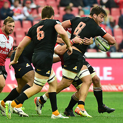 Johannesburg, SOUTH AFRICA, 21, MAY 2016 - during the Super Rugby match between Emirates Lions vs Jaguares ,Emirates Airlines Park,Johannesburg. <br /> Facundo Isa of the Jaguares is tackled by Jaco Kriel of the Emirates Lions. <br /> <br /> South Africa. (Photographer Christiaan Kotze ) -- (Steve Haag Sports) <br /> <br /> Images for social media must have consent from Steve Haag