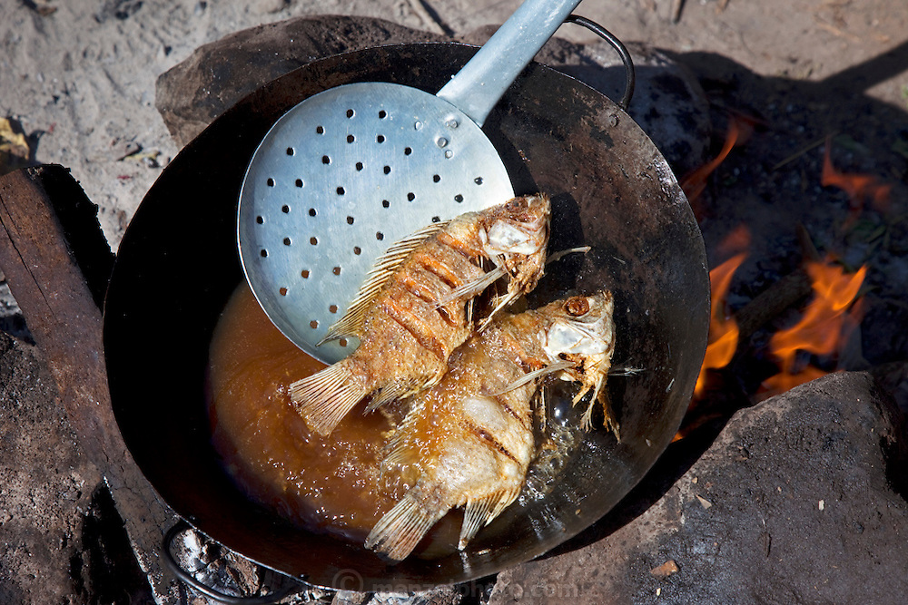 Fried tilapia from Lake Victoria is ready for customers at Roseline Amondi's market stall in the Kibera Slum, Nairobi Kenya. Kibera is Africa's biggest slum with nearly one million inhabitants.  (Roseline Amondi is featured in the book What I Eat: Around the World in 80 Diets.)