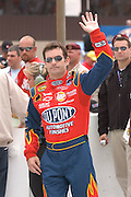 Jun 2005; Brooklyn, MI; Jeff Gordon waves to the crowd during driver introductions prior to the start of the Nextel Cup Series Batman Begins 400 at Michigan International Speedway.