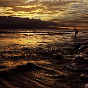 A surfer paddles near a rocky shore near Lahaina, Maui.  A beautiful Hawaiian sunset offers a golden backdrop.