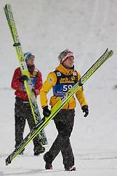 06.01.2012, Paul Ausserleitner Schanze, Bischofshofen, AUT, 60. Vierschanzentournee, FIS Ski Sprung Weltcup, Podium, im Bild Thomas Morgenstern (AUT) und im Hintergrund Gregor Schlierenzauer (AUT) // Gregor Schlierenzauer of Austria and Thomas Morgenstern of Austria before Podium during 60th Four-Hills-Tournament FIS World Cup Ski Jumping at Paul Ausserleitner Schanze, Bischofshofen, Austria on 2012/01/06. EXPA Pictures © 2012, PhotoCredit: EXPA/ Johann Groder