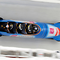 16 December 2007:  The Germany 3 sled driven by Karl Angerer with Marc Kuehne, Andreas Udvari and brakeman Benjamin Mielke compete at the FIBT World Cup 4-Man bobsled competition on December 16, 2007 at the Olympic Sports Complex in Lake Placid, NY.  The Russia 2 sled driven by Alexandr Zubkov won the race with a time of 1:48.79.
