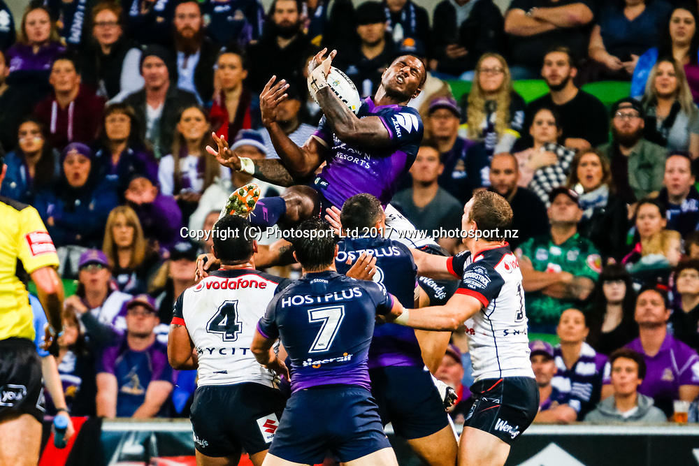 Suliasi Vunivalu catches a high ball. Melbourne Storm v Vodafone Warriors, Round 8 of the 2017 NRL Rugby League Premiership season at AAMI Park in Melbourne, Australia. 25 April 2017. Copyright photo: Brendon Ratnayake / www.photosport.nz