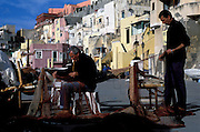 Chaiolella fishing village, scene of Il postino movie, procida Island, bay of Naples, Italy
