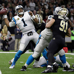 Jan 7, 2018; New Orleans, LA, USA; Carolina Panthers quarterback Cam Newton (1) is sacked by New Orleans Saints defensive end Cameron Jordan (94) during the third quarter in the NFC Wild Card playoff football game at Mercedes-Benz Superdome. Mandatory Credit: Derick E. Hingle-USA TODAY Sports